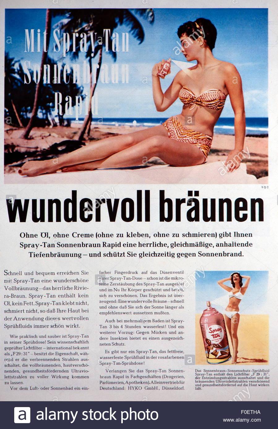 advertising, cosmetics, sun cream, sun spray, 'Spray Tan - Sonnenbraun Rapid', advertisement, Germany, 1957, - Stock Image