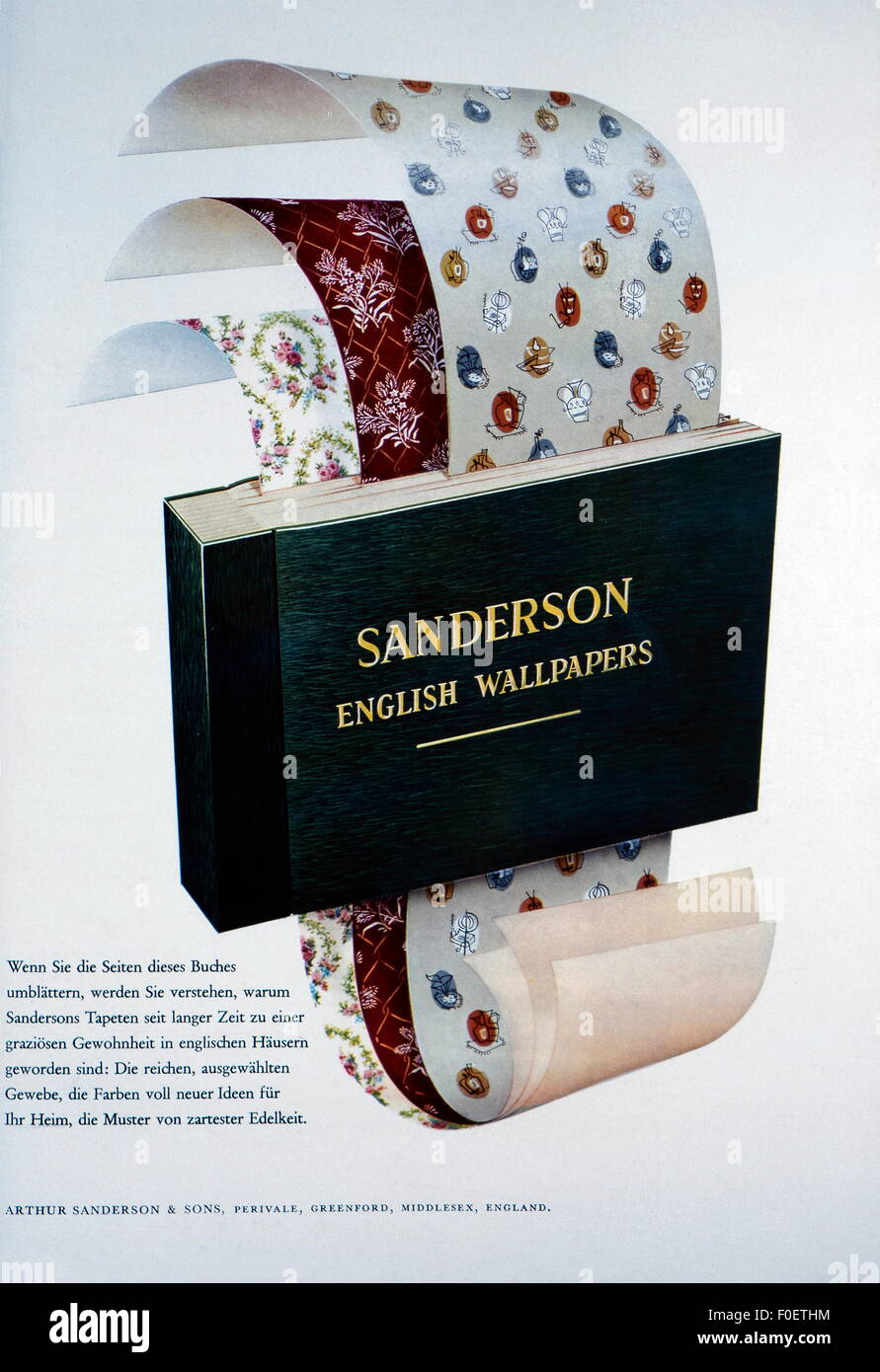 advertising, furnishings, wallpaper, advertisement for 'Sanderson English Wallpapers', out of: 'Film - Stock Image