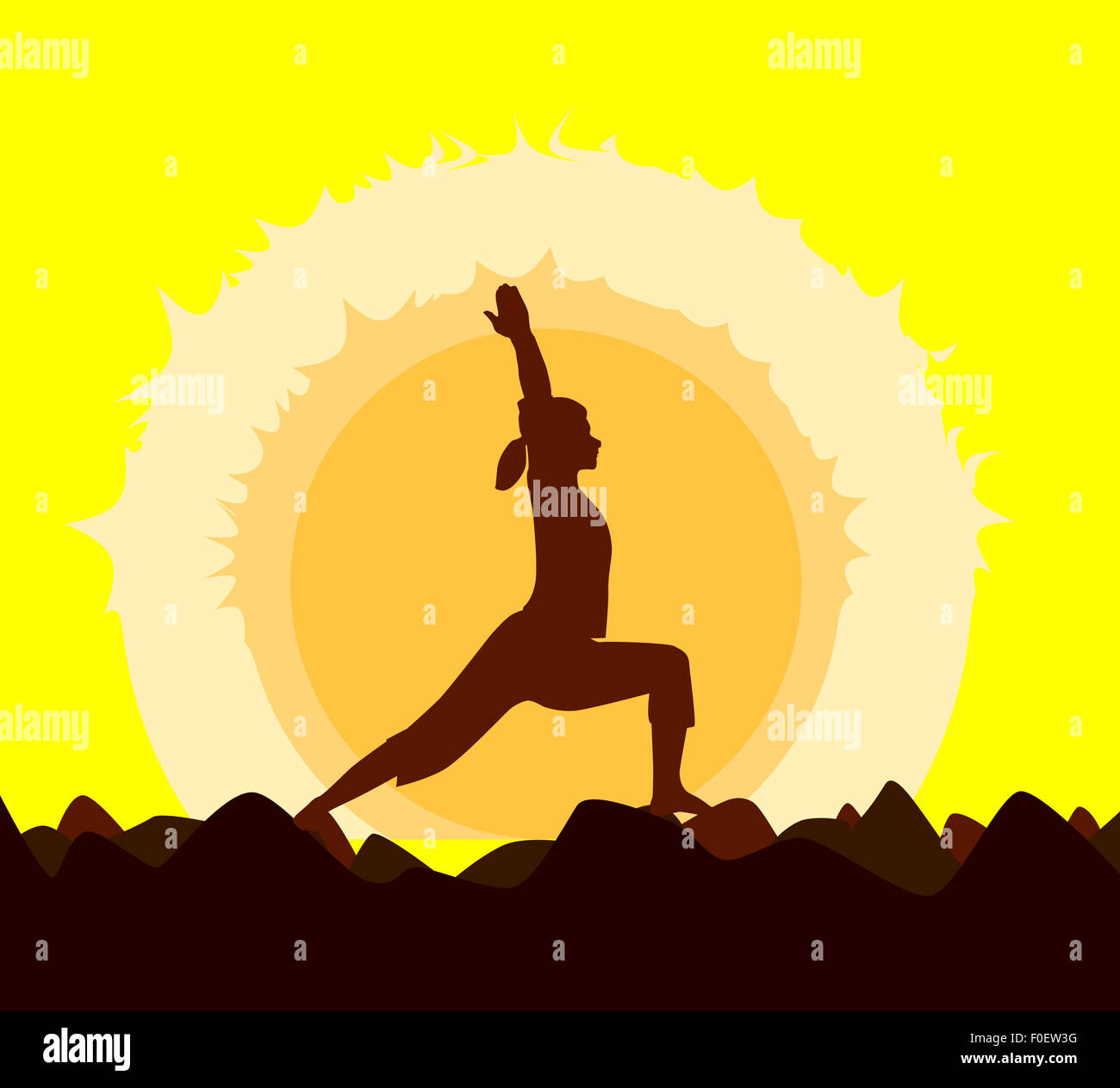 Yoga Poses Performed By A Young Woman In Silhouette Set Against Yellow Sunset