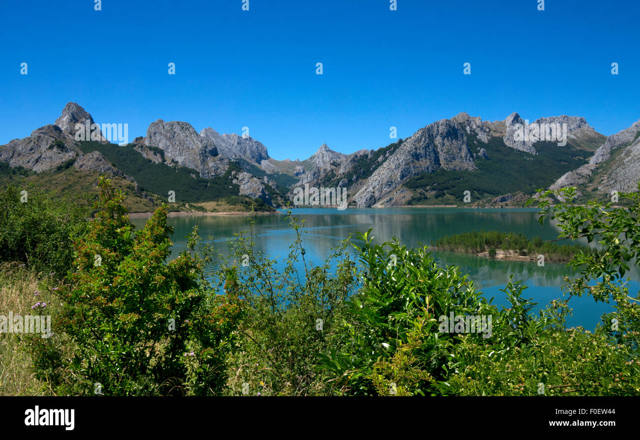 Reservoir in Picos de Europa at Riano,Northern Spain - Stock Image