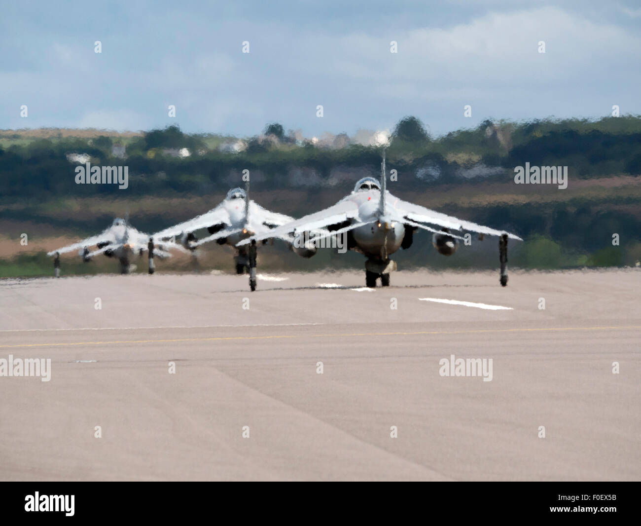 Sea Harriers taxiing at Culdrose Cornwall UK - Stock Image