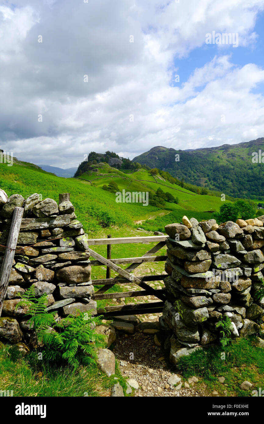 Allerdale Ramble with Castle Crag (middle) & King's How, Borrowdale, Lake District National Park, Cumbria, - Stock Image
