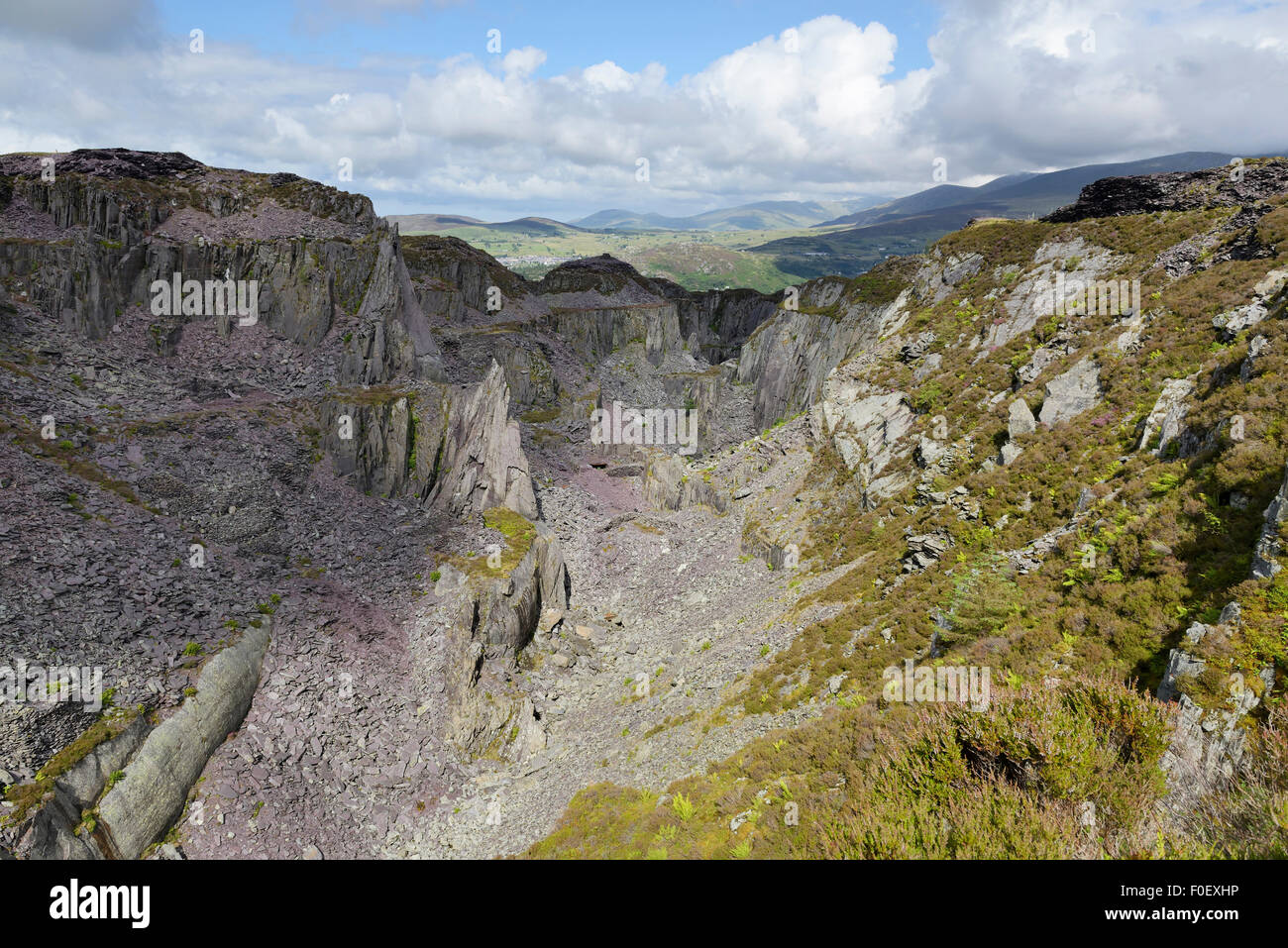 Glyn Rhonwy quarries behind Llanberis where the Quarry Battery Company plan to develop a pump storage power station. - Stock Image
