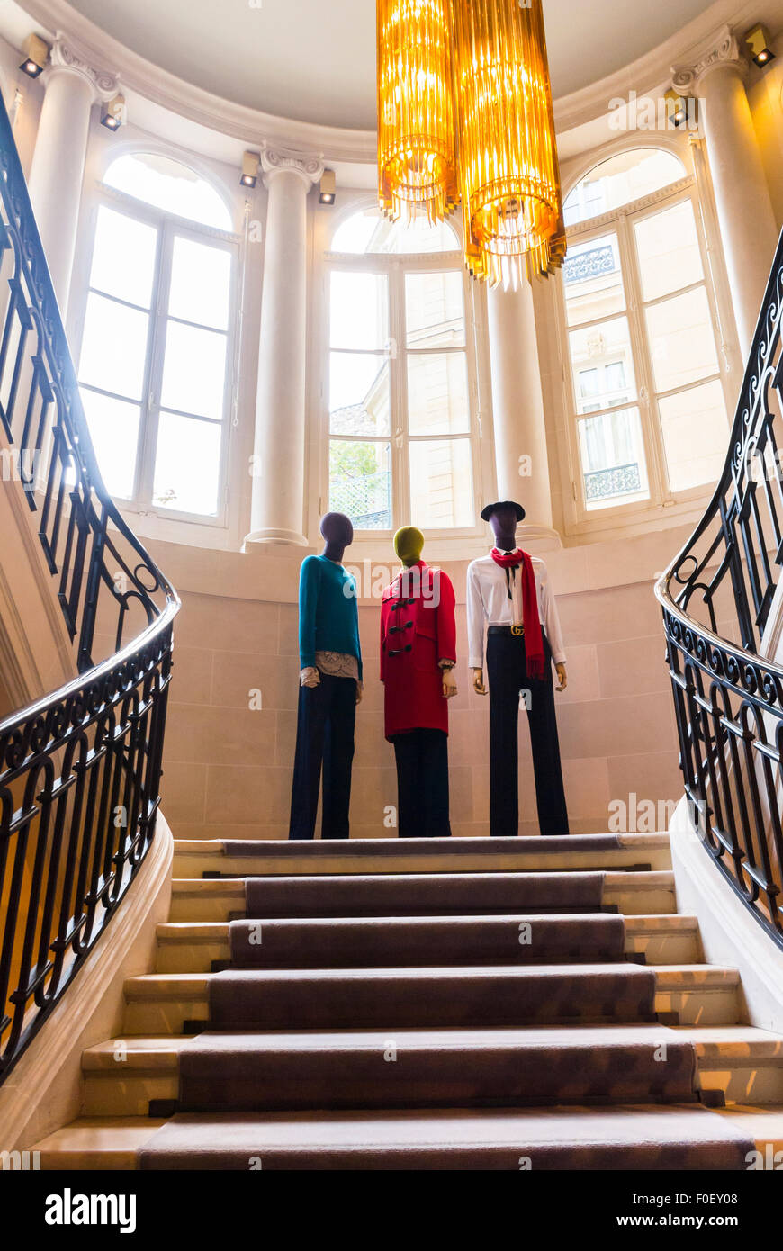 Paris, France, Mannequins Clothing Display On Staircase, Shop Inside,  Luxury Brands Store, Gucci,