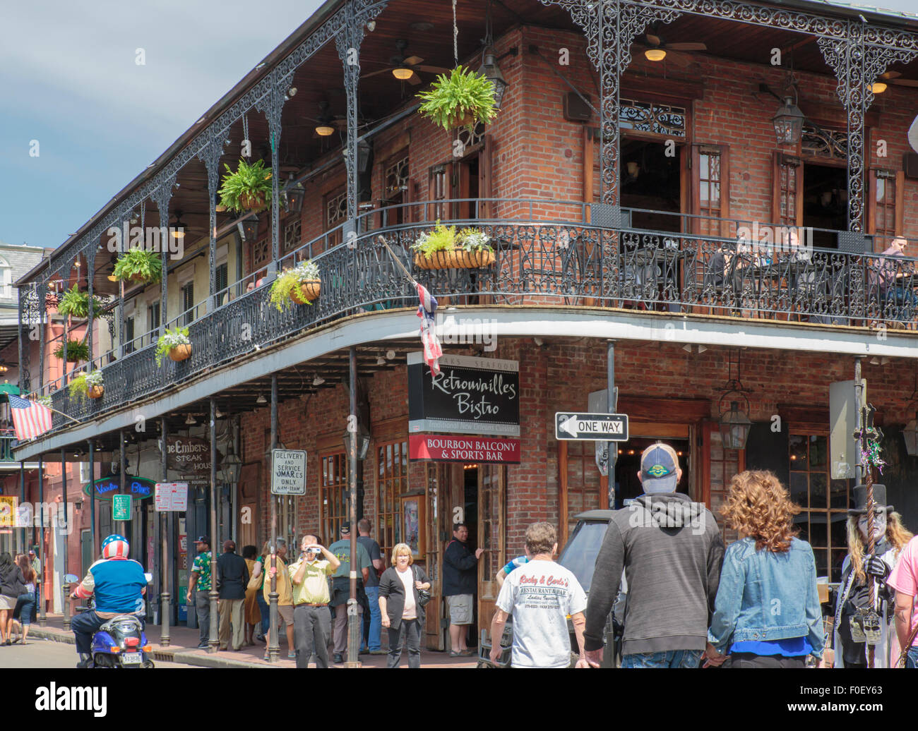 Bourbon street new orleans one of many restaurants with an outdoor seating balcony on bourbon street new orleans
