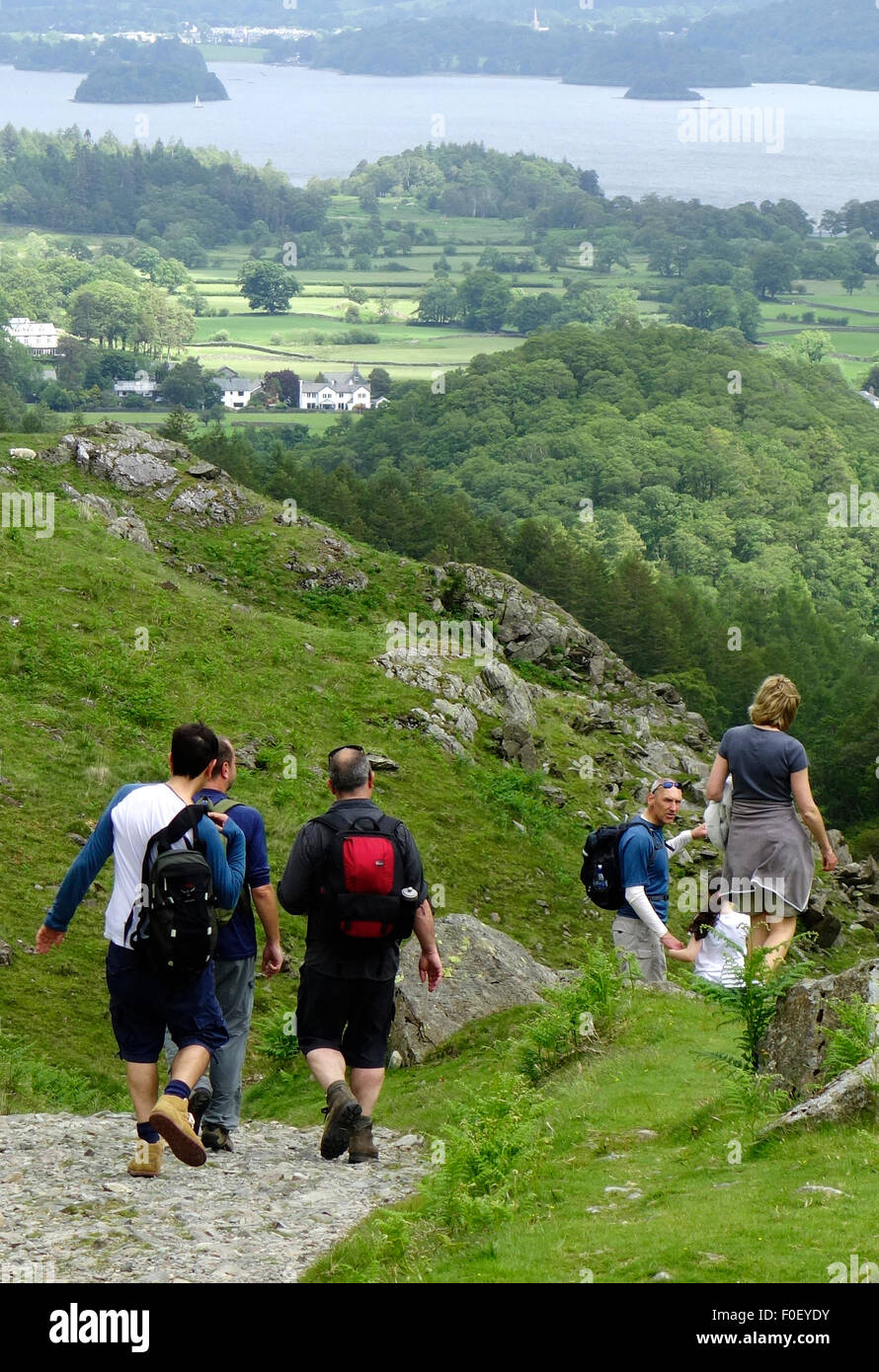 Walkers on the Allerdale Ramble, Borrowdale, Lake District National Park, Cumbria, England, UK - Stock Image