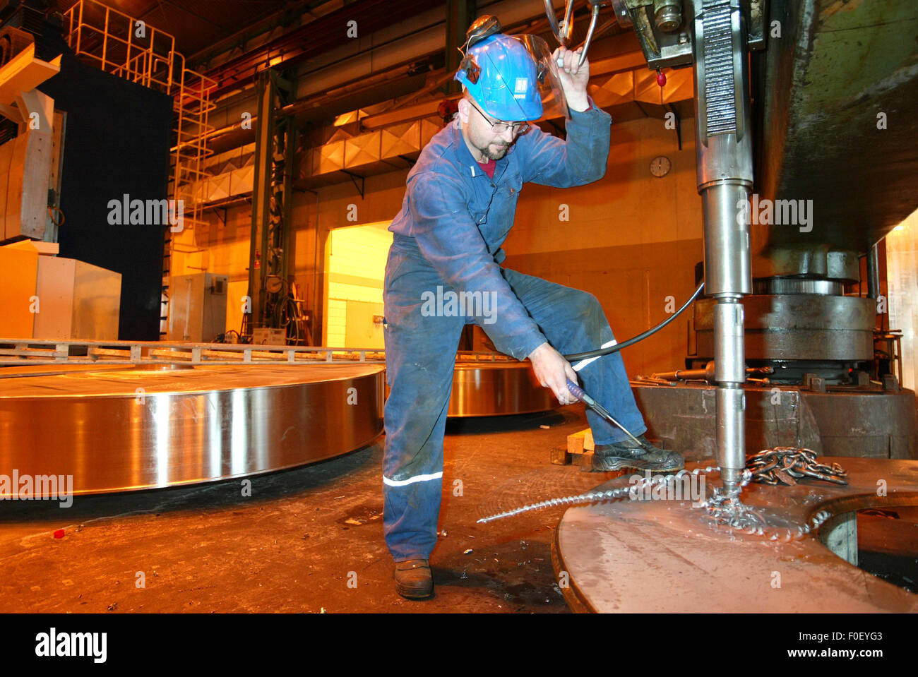 Winch production for offshore drilling oil rigs at I P Huse on the Island of Herøya, West Coast of Norway, - Stock Image