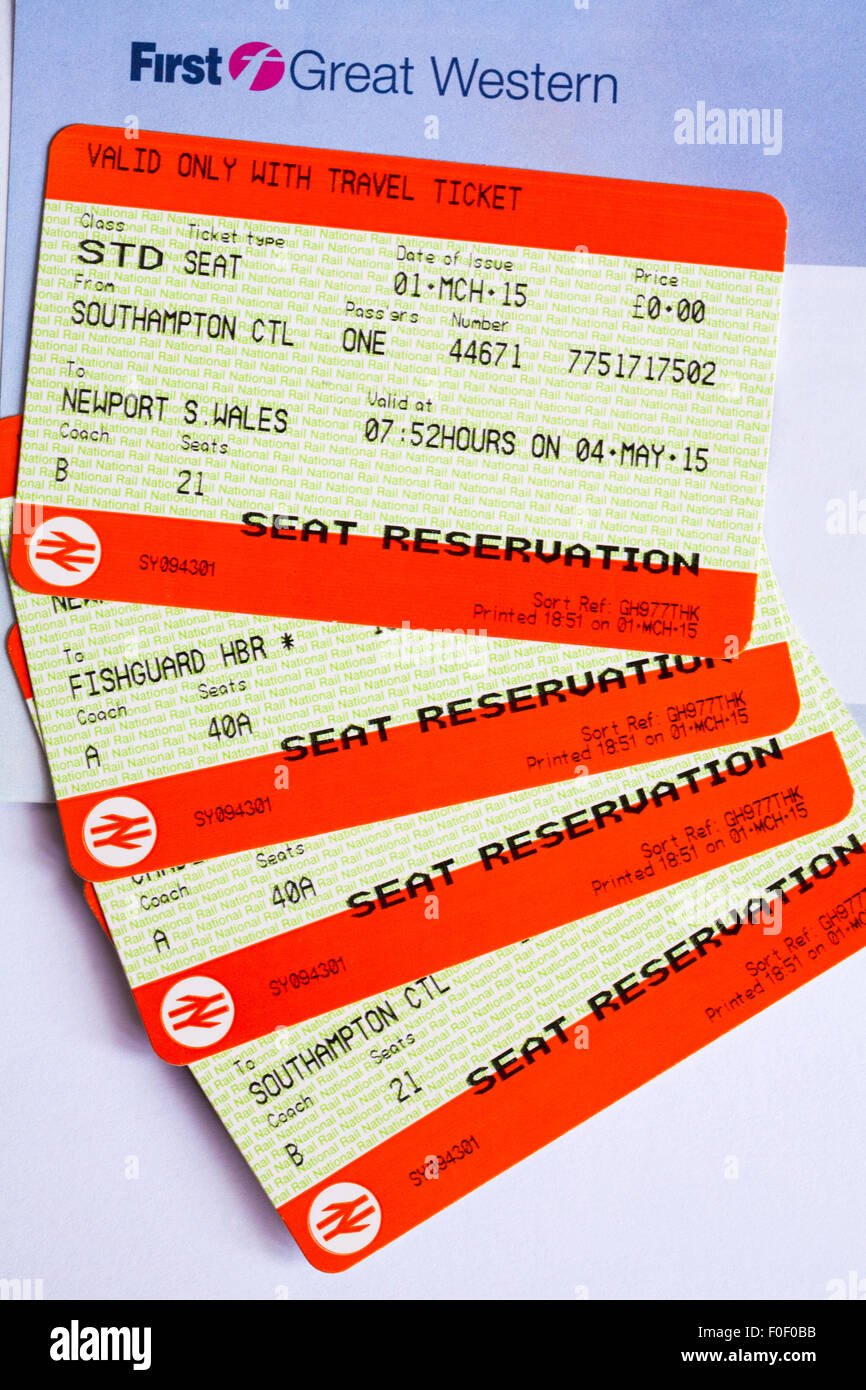 train tickets for train trip between Branksome and Fishguard Harbour - Stock Image