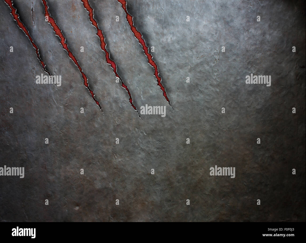 metal scratched by beast claws - Stock Image