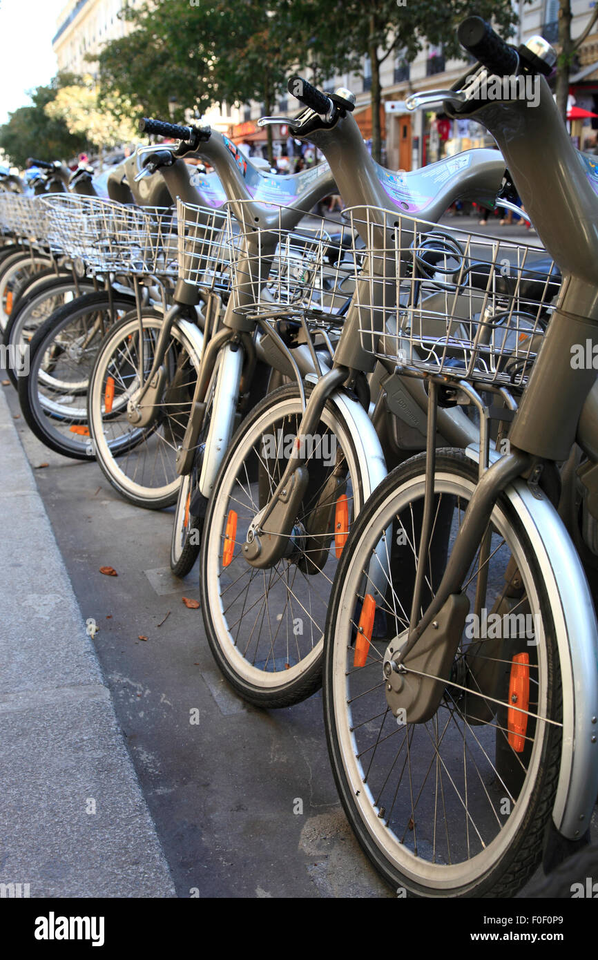 Public hire bikes in Paris, France, Europe - Stock Image