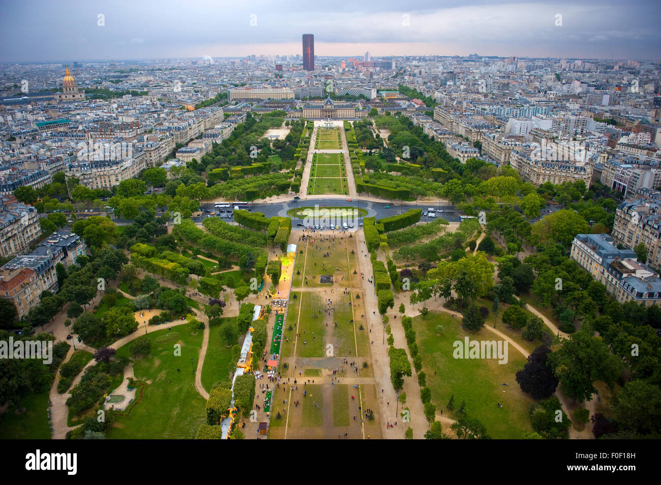 View from the Eiffel Tower over Champ de Mars in Paris Stock Photo