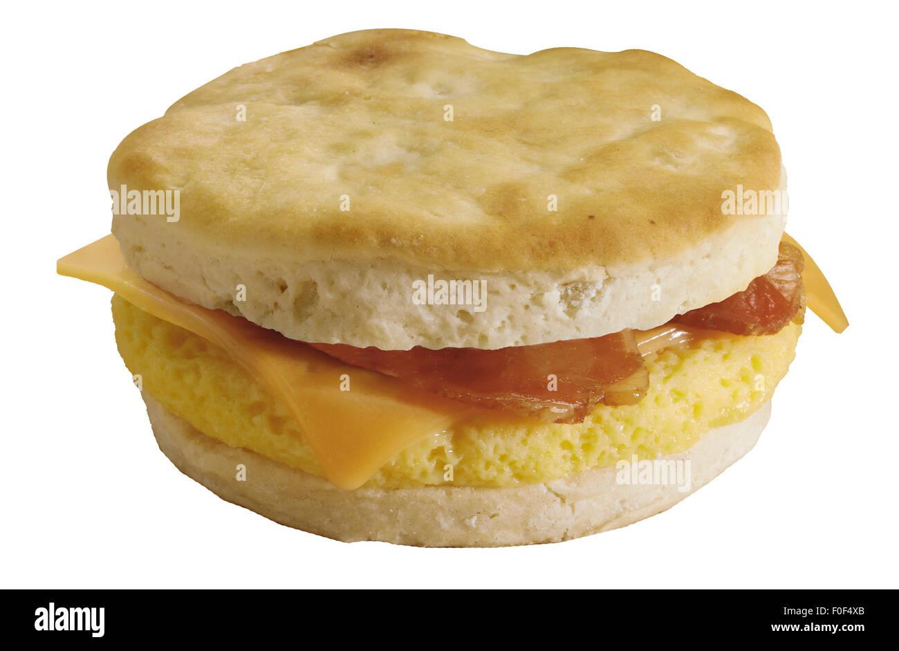 Breakfast Sandwich, Muffin, Cheese, Scrambled Egg, Bacon - Stock Image