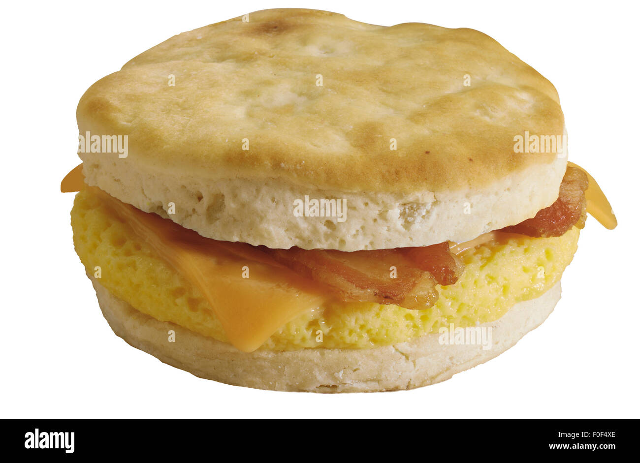 Breakfast Sandwich, Biscuit, Cheese, Scrambled Egg, Bacon - Stock Image