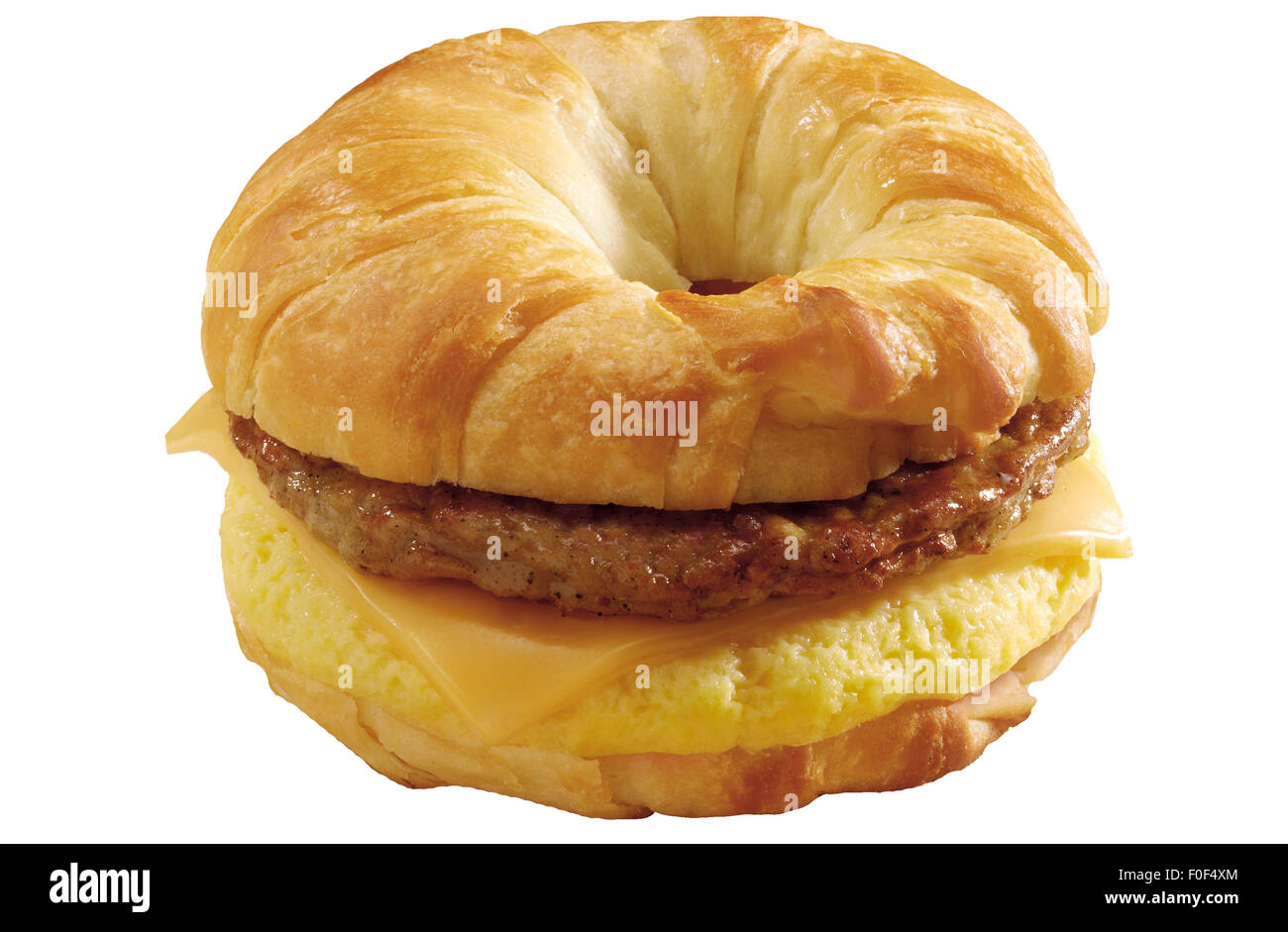 Breakfast Sandwich, Croissant, Cheese, Scrambled Egg, Sausage - Stock Image