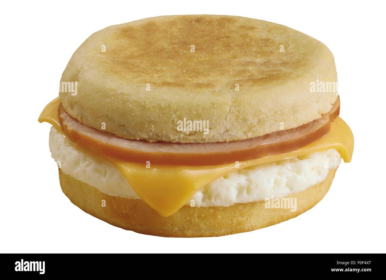 Breakfast Sandwich, English Muffin Cheese, Scrambled Egg White - Stock Image