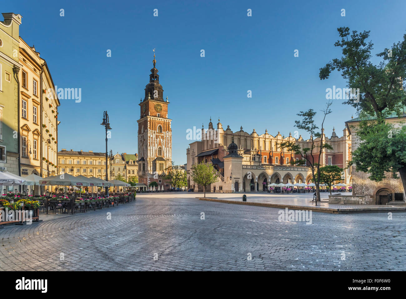 The 70 meter high town hall tower, Krakow, Lesser Poland, Poland, Europe - Stock Image