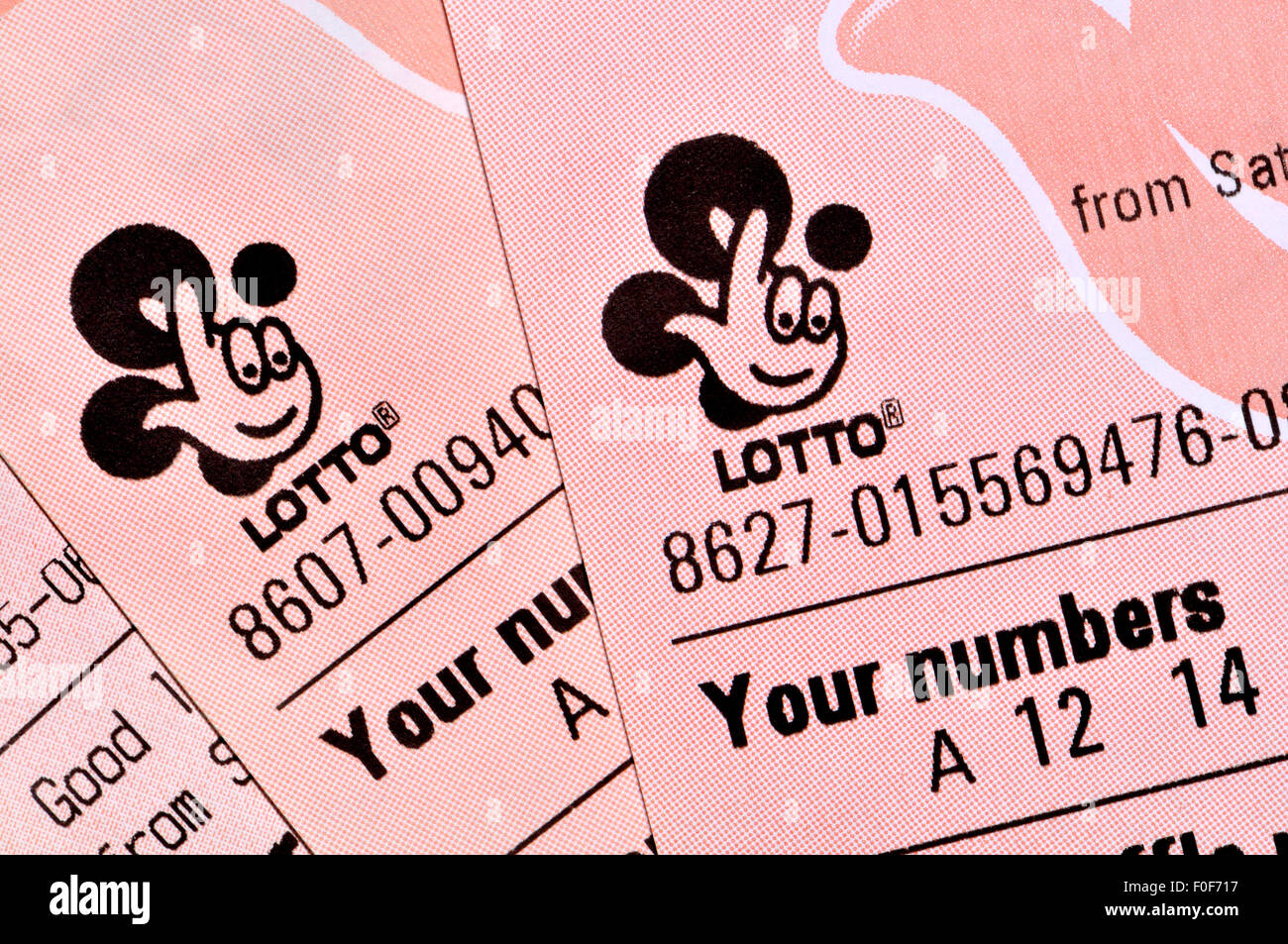 British Lotto national lottery tickets - new design from August 2015 - Stock Image