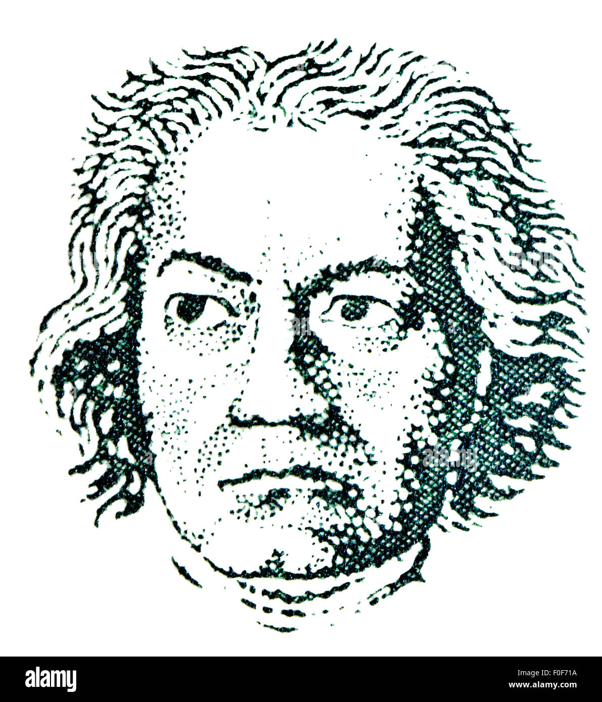 Portrait of Ludwig van Beethoven (1770-1827: German composer) from 1961 German postage stamp - Stock Image