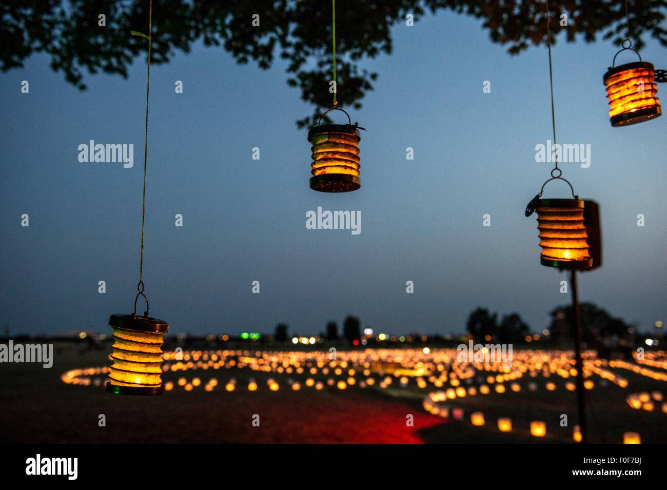 Lights hang in front of the entrance to the labyrinth of lights at Tempelhofer Feld in Berlin, Germany, 13 August - Stock Image