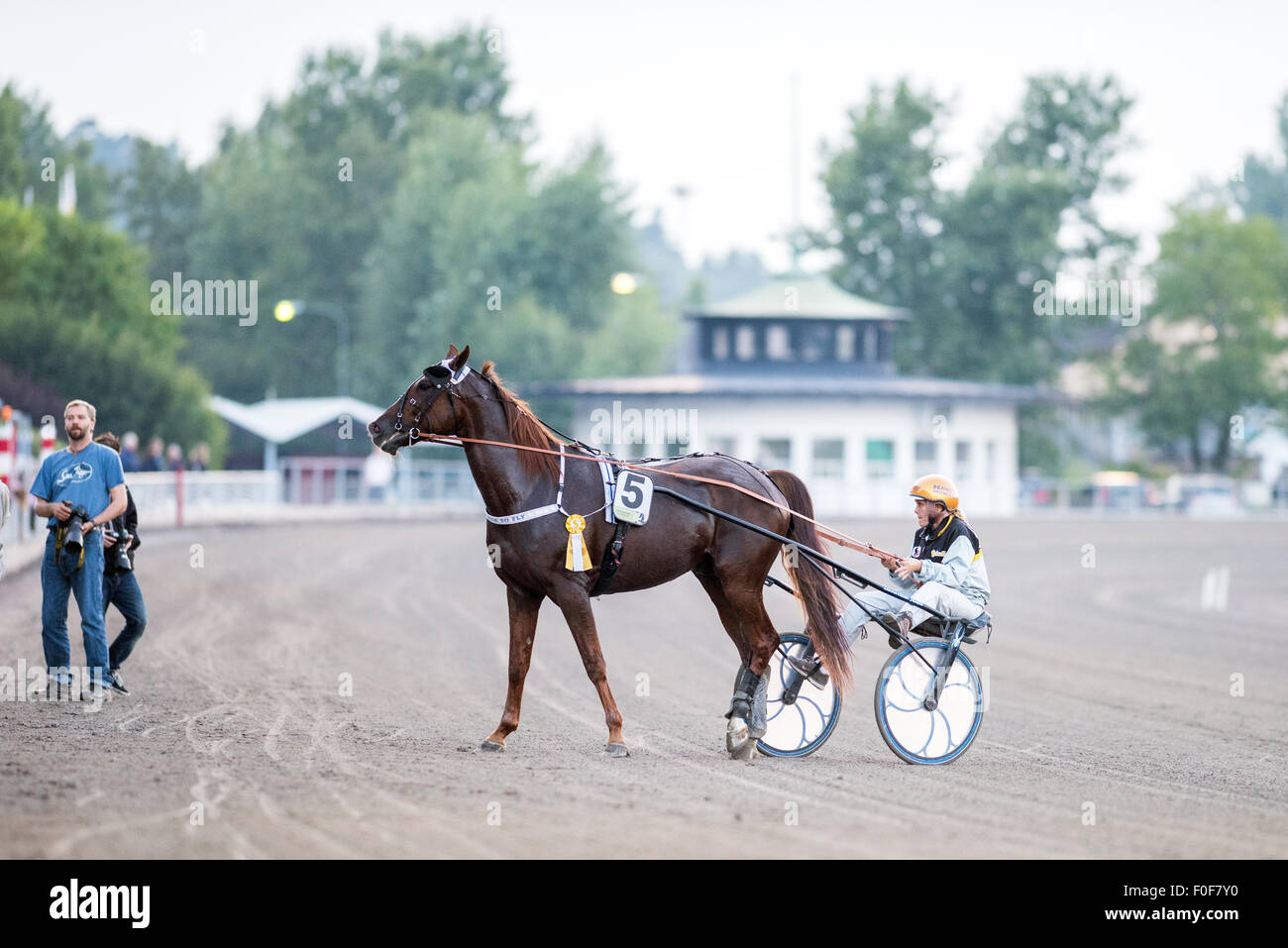Order To Fly after winning at Solvalla horse racing track in V86 race #3 on August 5, 2015 - Stock Image