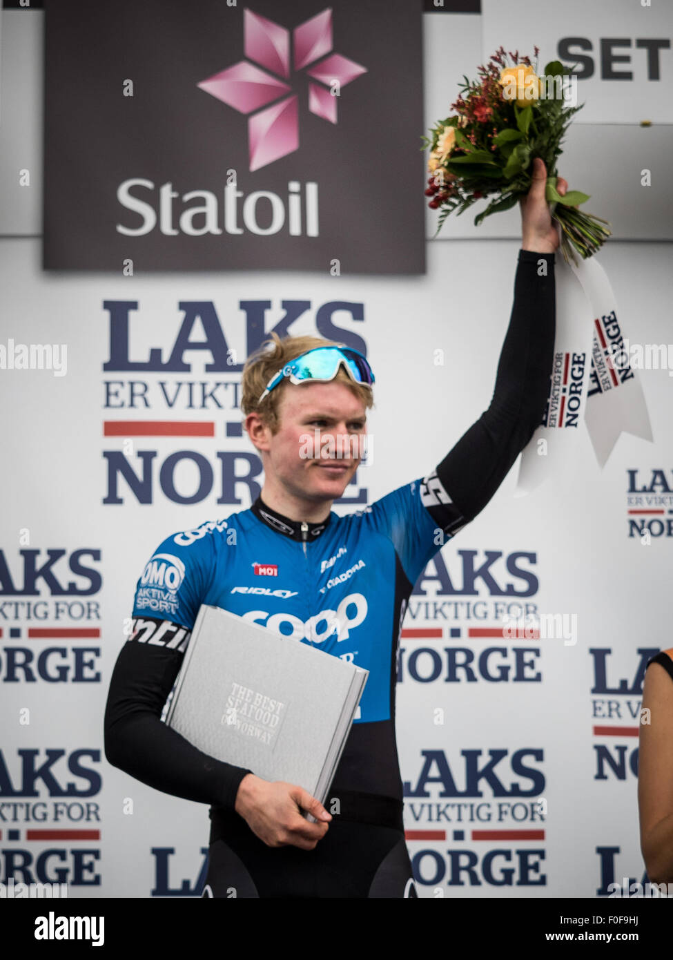 Setermoen, Norway. 14th August 2015. August Jensen from Norway cycling for Team COOP-Osterhus was awarded the climbers - Stock Image