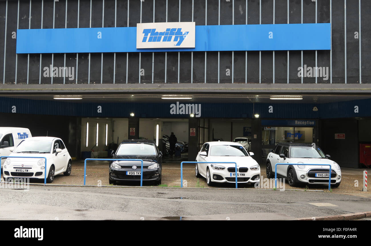 Thrifty car hire in Leicester, UK. - Stock Image
