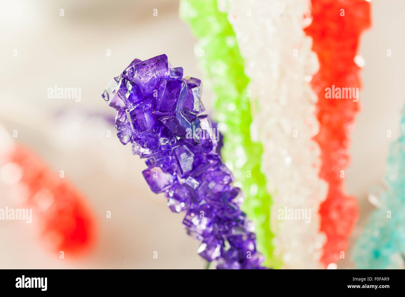 Sweet Sugary Multi Colored Rock Candy Ready to Eat - Stock Image