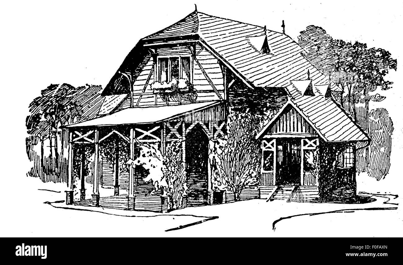 Engraving of wooden country house with porch veranda, small chalet and wood behind - Stock Image