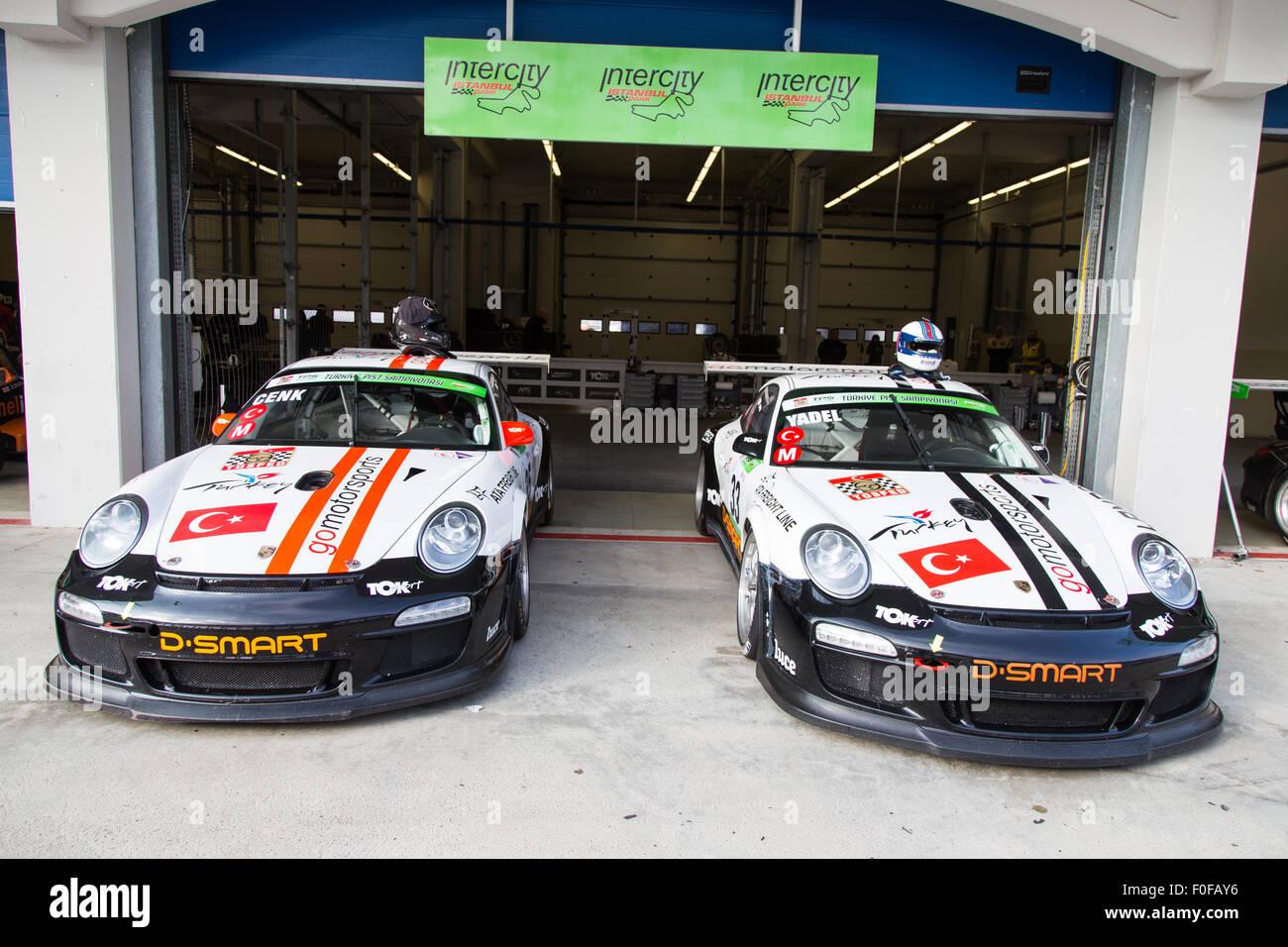 ISTANBUL, TURKEY - NOVEMBER 02, 2014: Go Motorsports team cars in Pit lane during Turkish Touring Car Championship - Stock Image
