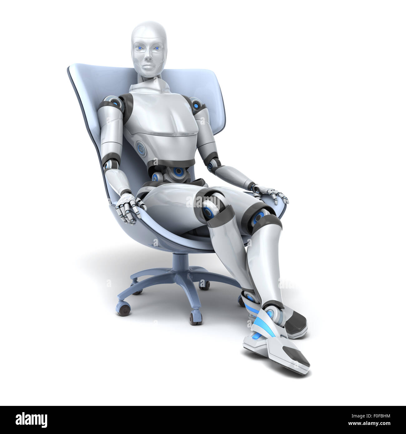 Android sits in a chair isolated on white. Clipping path included - Stock Image