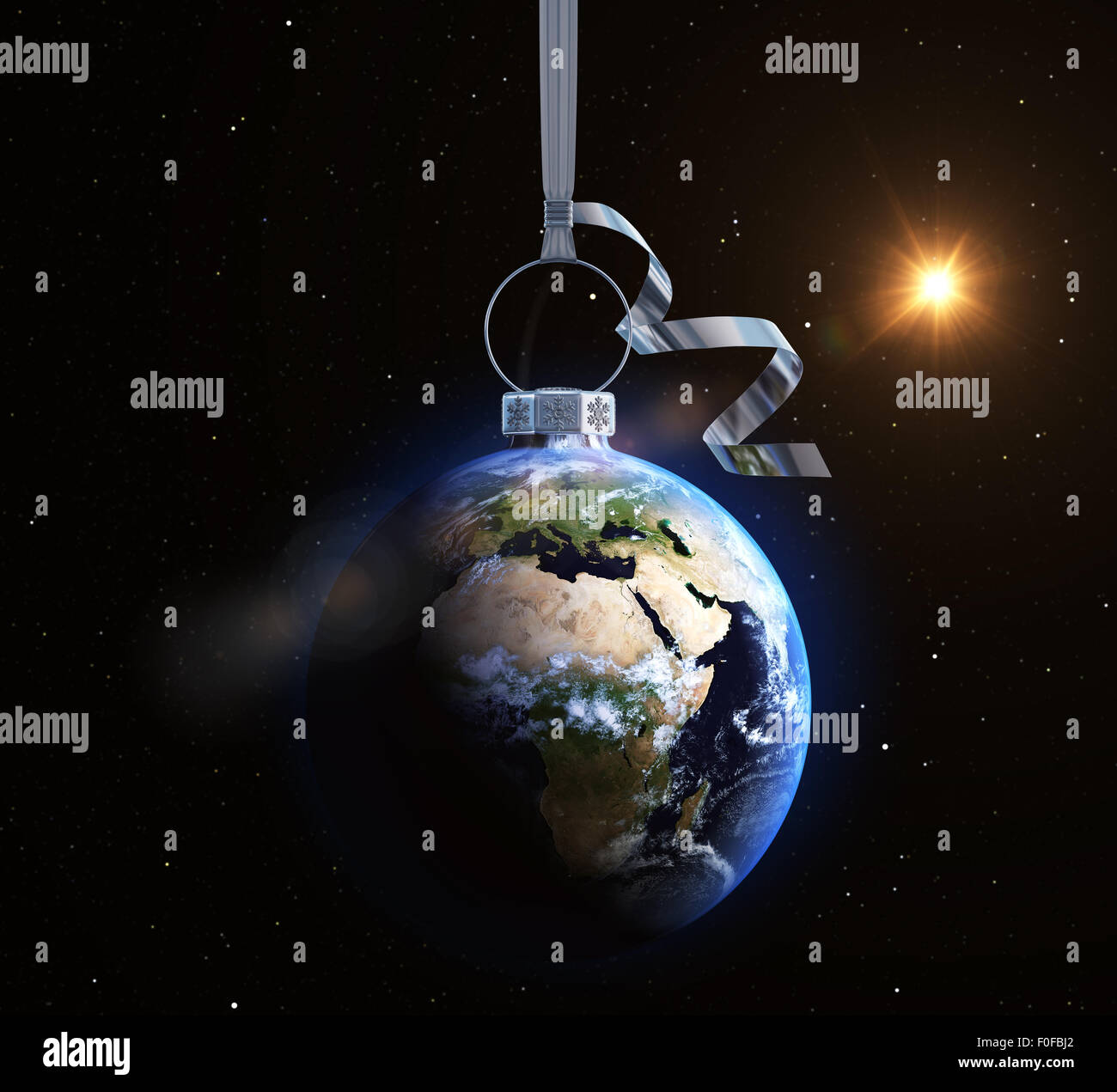 Christmas ball with world map texture. Europe and Africa - Stock Image