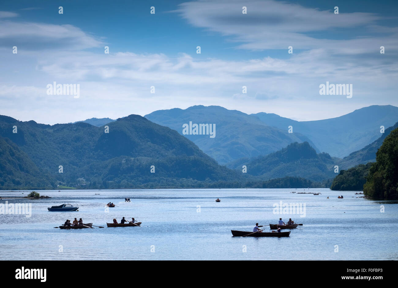 rowing boats on Derwentwater at Keswick in the Lake District, Cumbria, UK - Stock Image