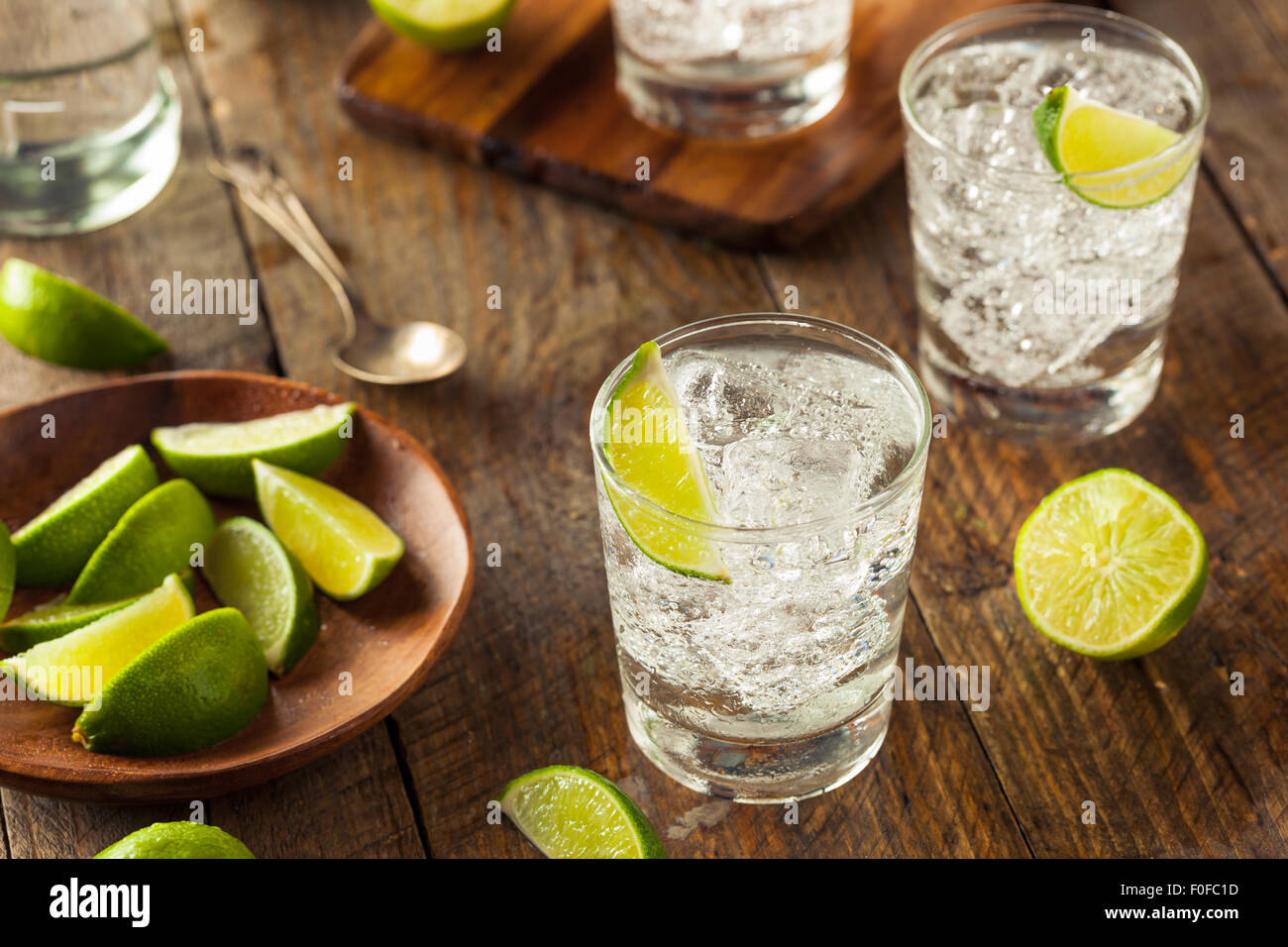 Alcoholic Gin and Tonic with a Lime Garnish - Stock Image