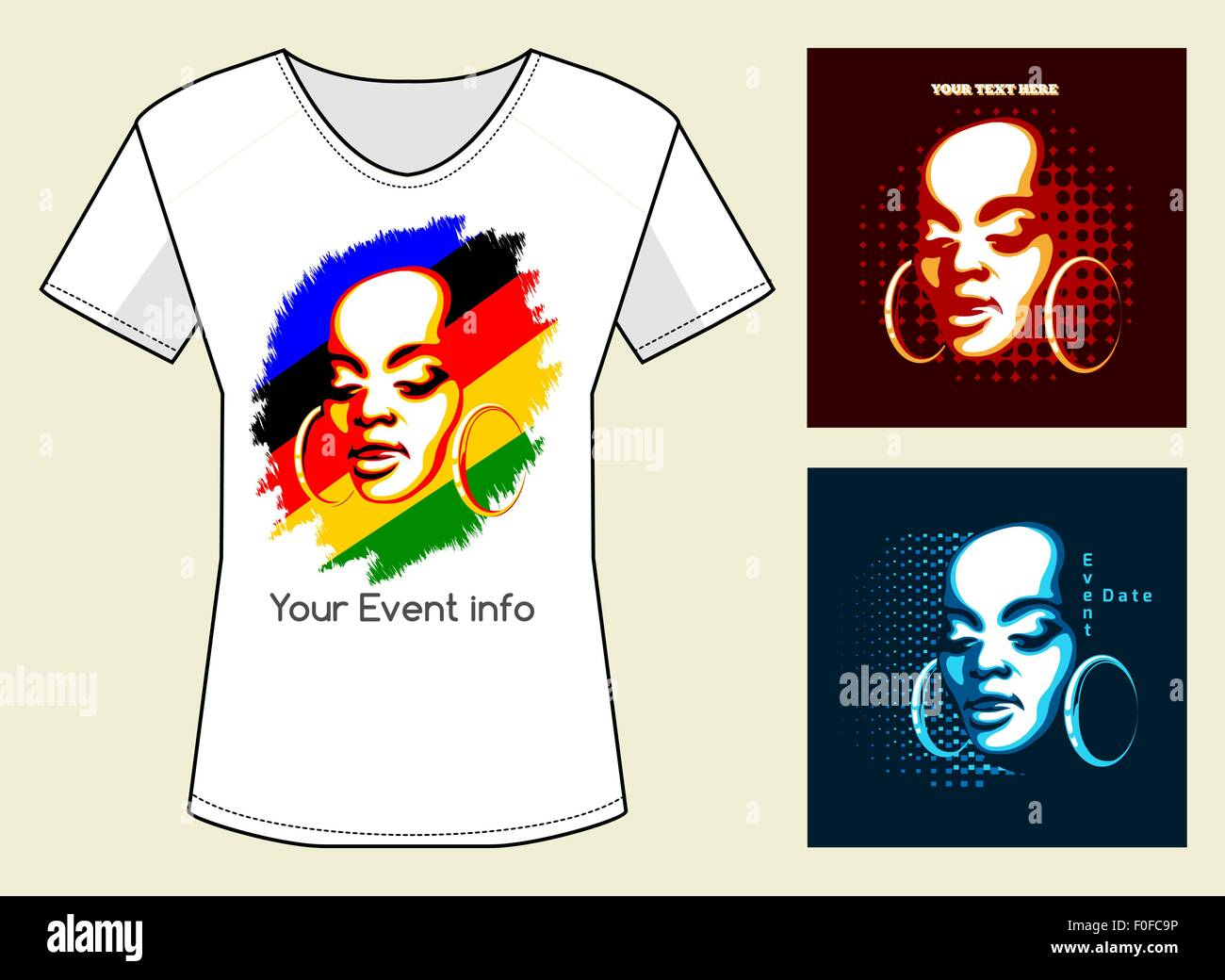 fe86b631f T-Shirt Print in three color variations. African Woman Face with samples of  text. Only free font used.