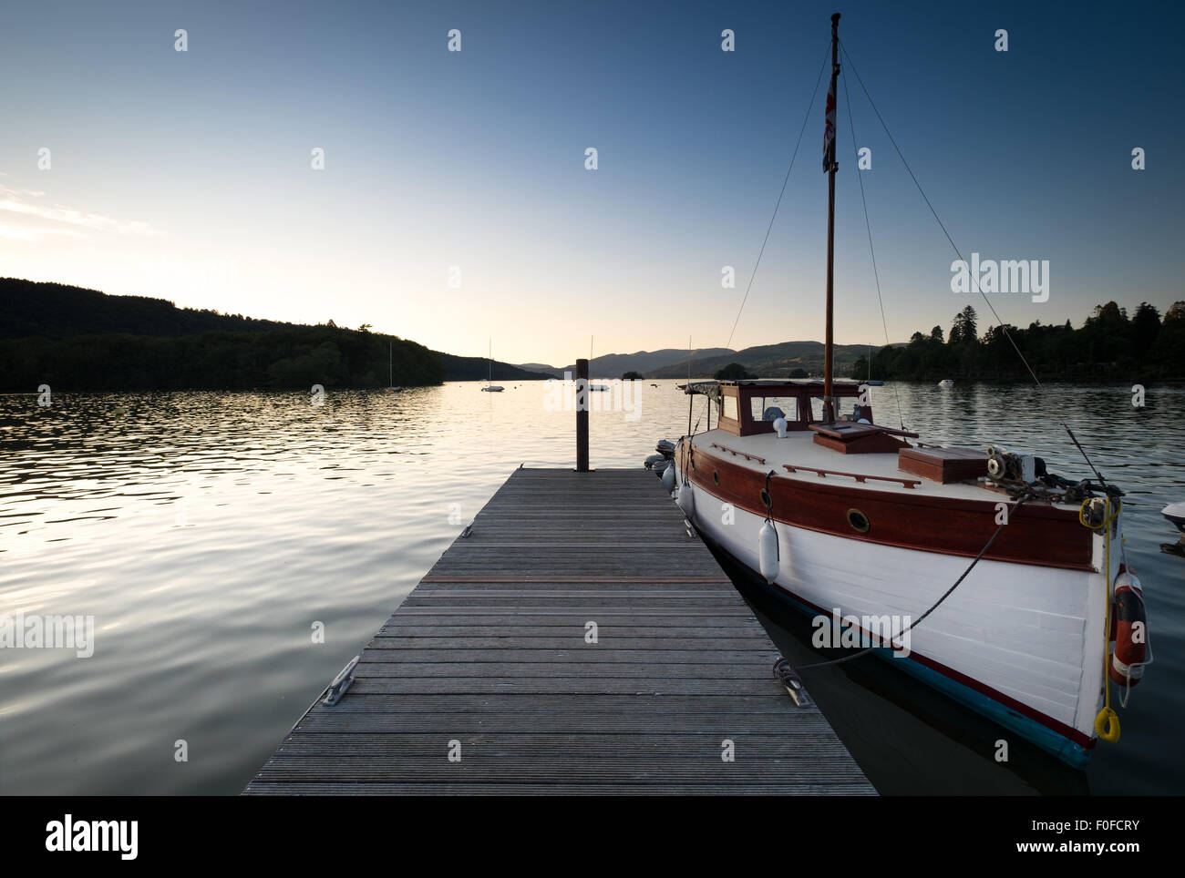 Lake Windermere pictured at dusk from Bowness-On-Windermere, Cumbria, UK - Stock Image