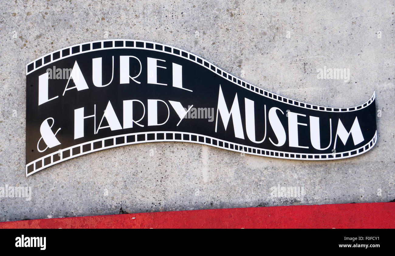 Sign on the Laurel and Hardy Museum, Ulverston, South Lakeland, Cumbria, England, UK - Stock Image