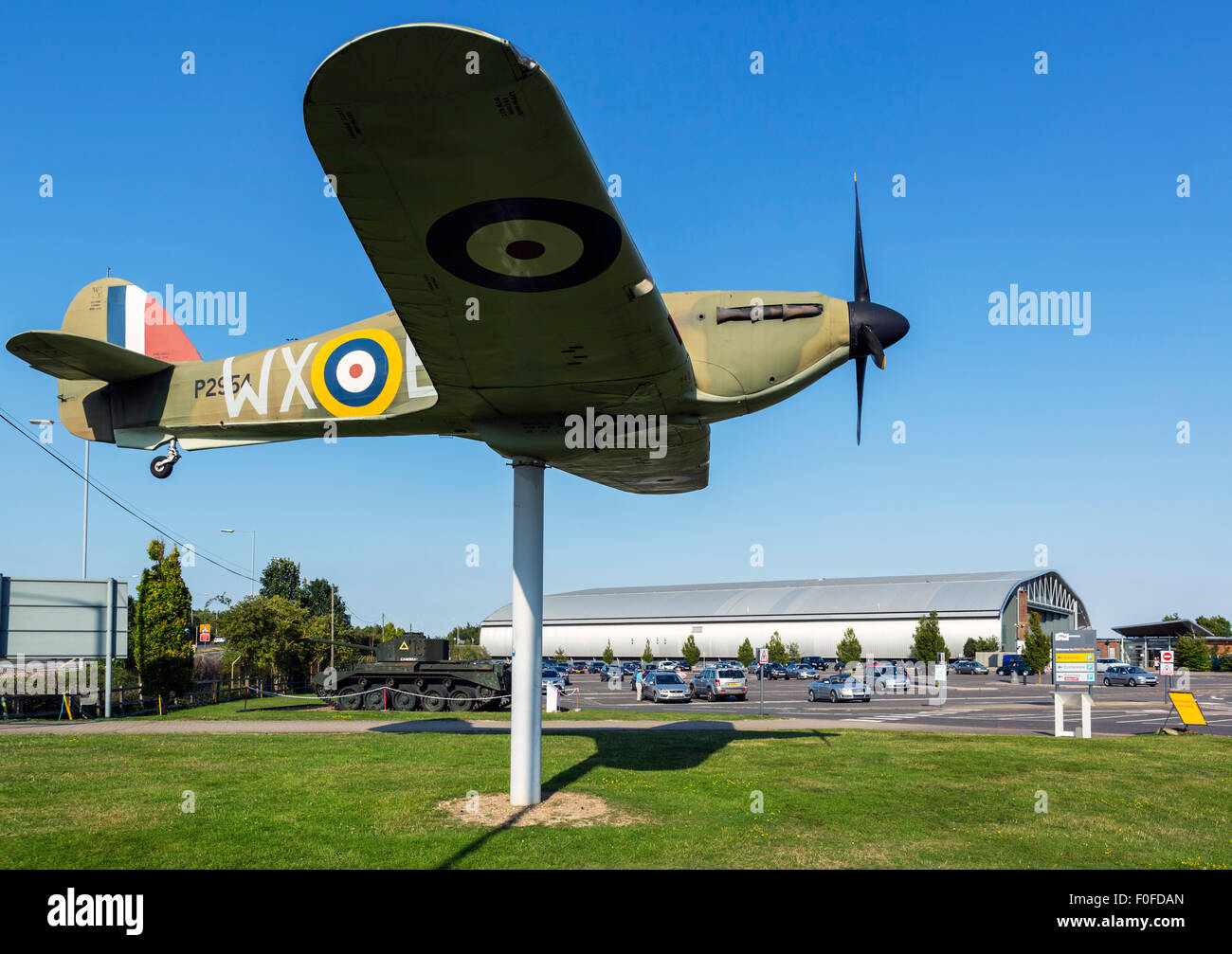 Full scale model of a Hawker Hurricane fighter at the entrance to the Imperial War Museum, Duxford, Cambridgeshire, - Stock Image