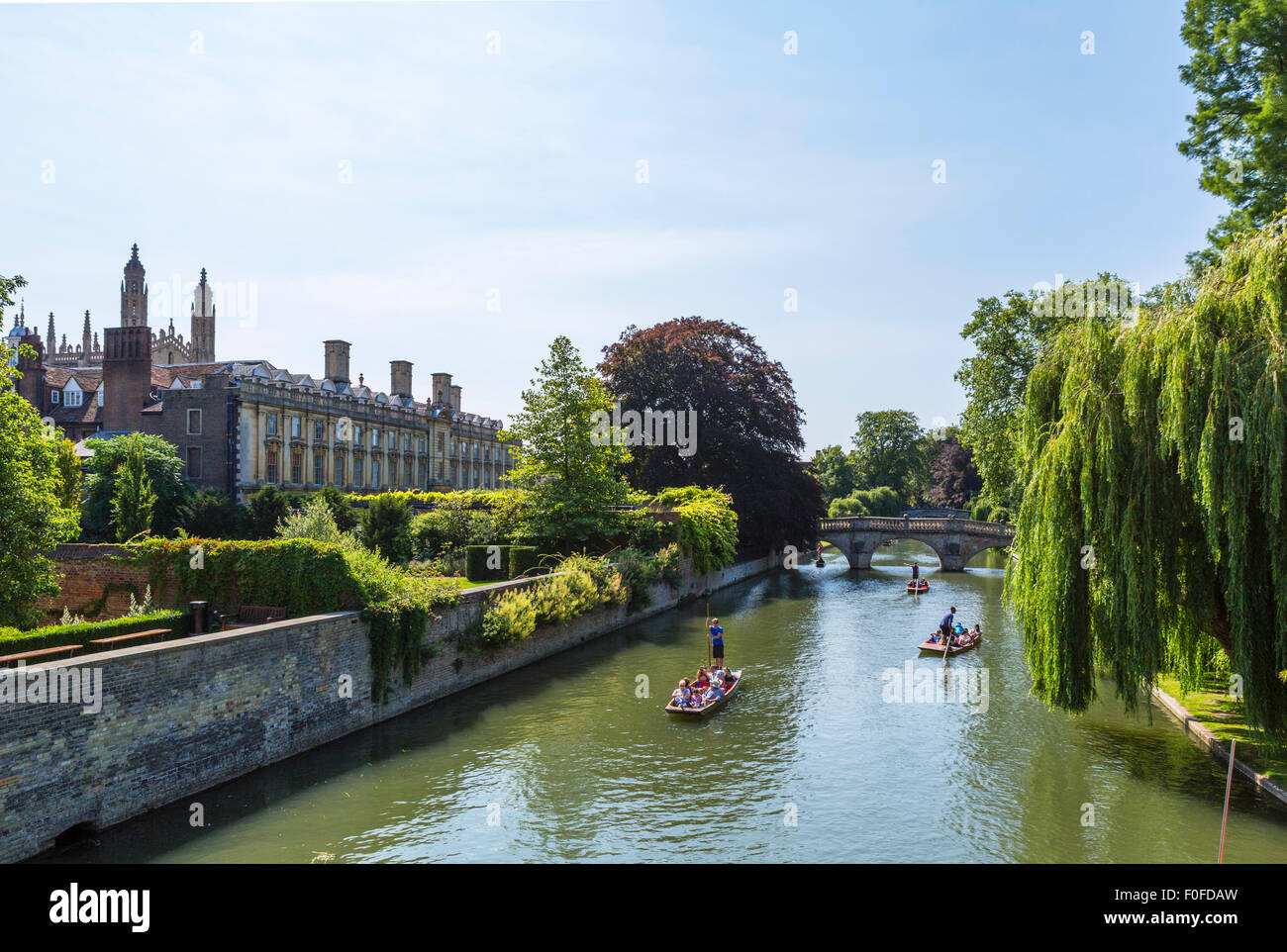 River Cam from Garret Hostel Bridge looking towards Clare College and Clare College Bridge, The Backs, Cambridge, - Stock Image