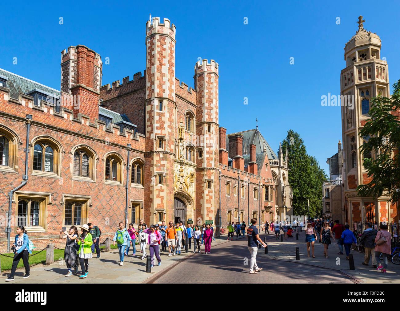 St Johns Street outside St John's College in the city centre, Cambridge, Cambridgeshire, England, UK - Stock Image