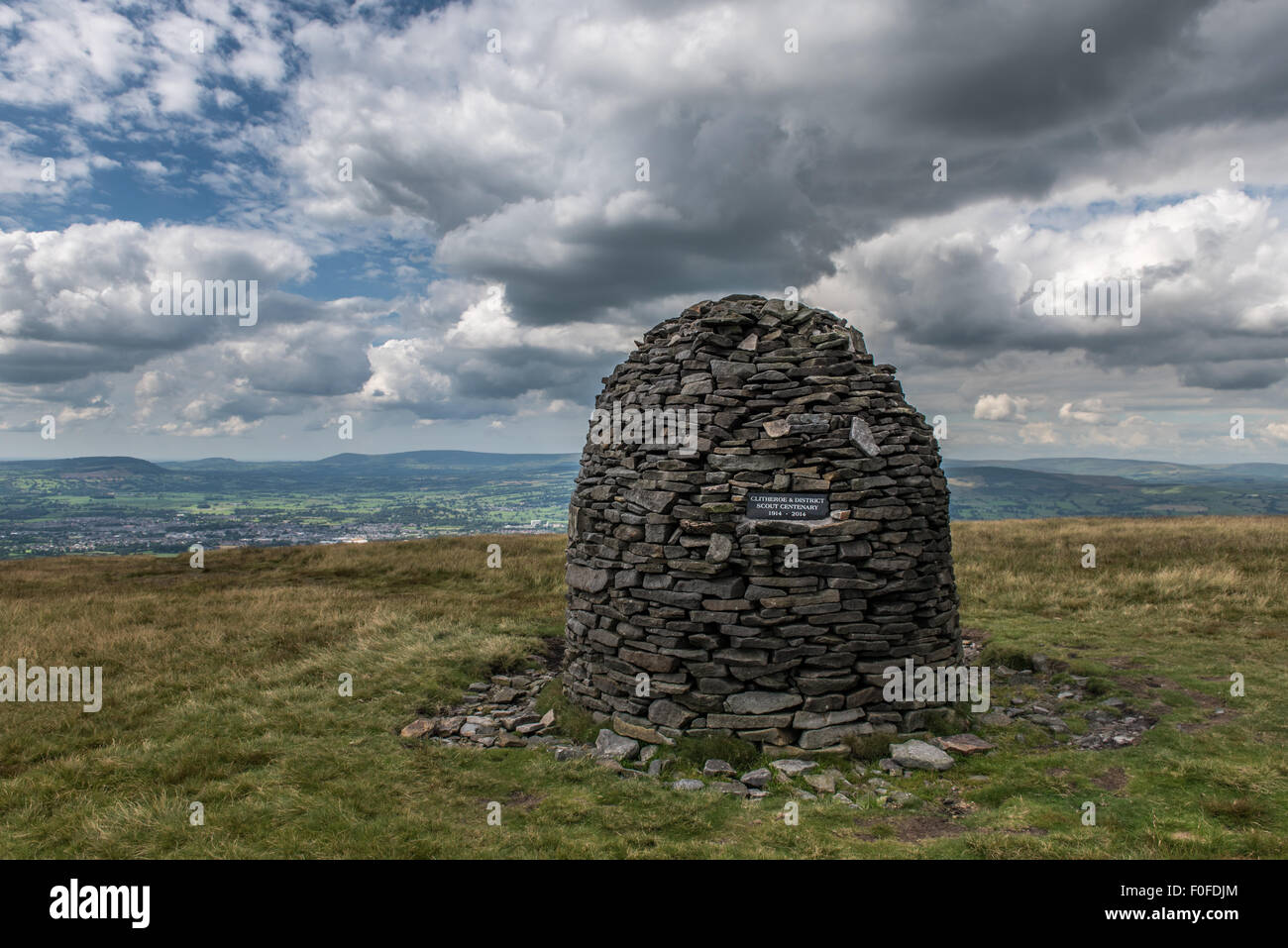 The Scouting Memorial Cairn on Pendle Hill Lancashire - Stock Image