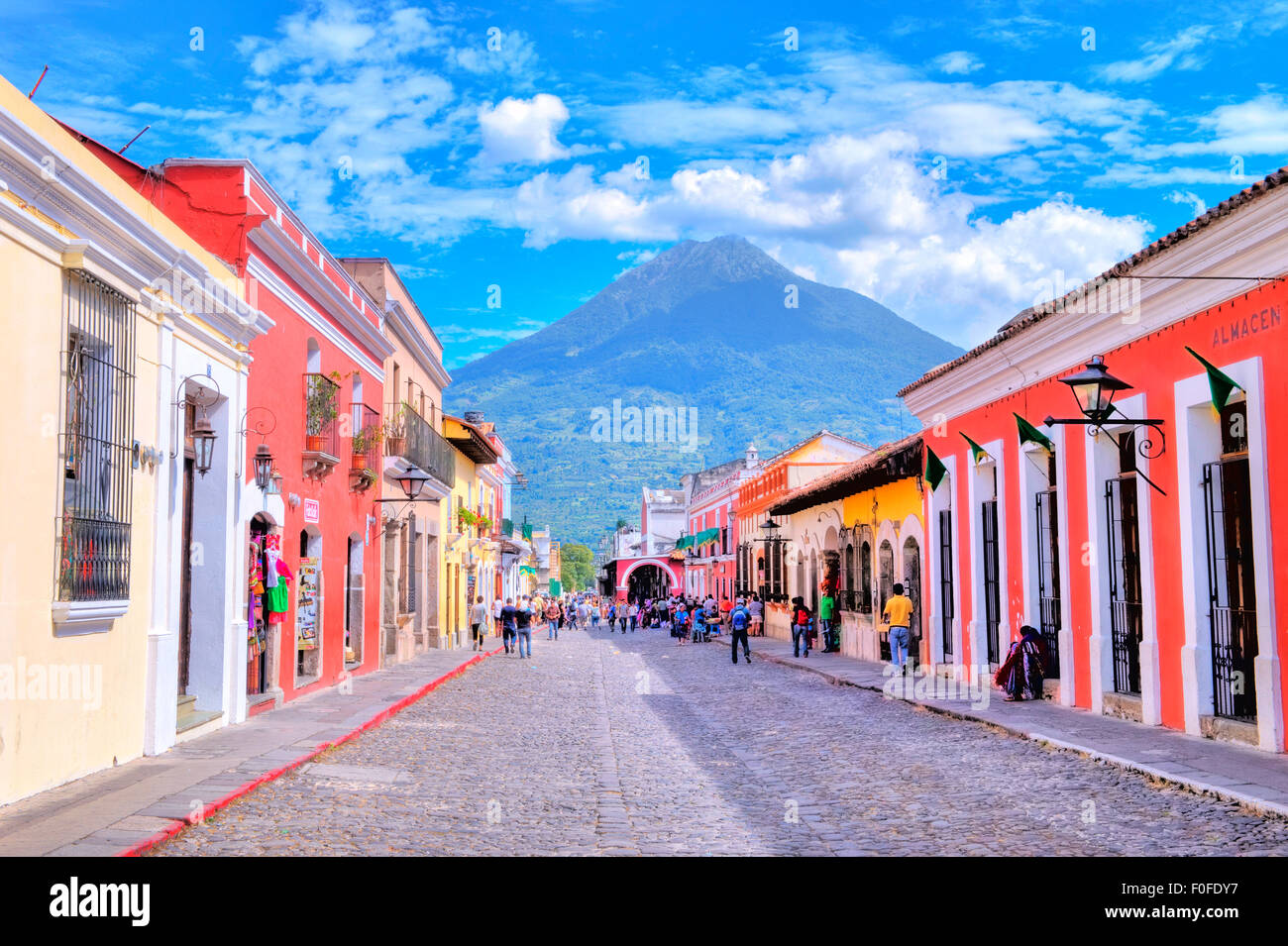 Street view of Antigua Guatemala - Stock Image