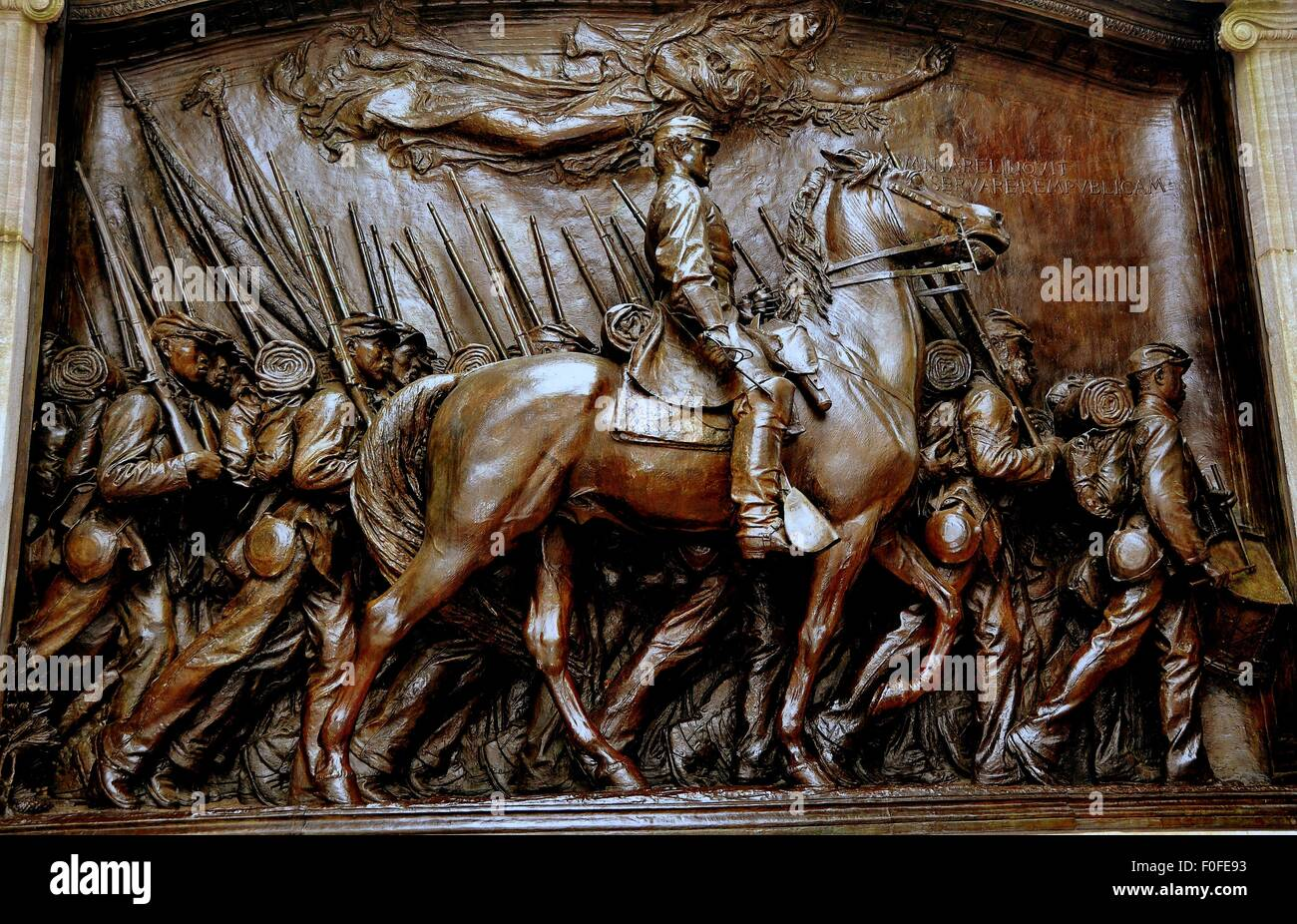 Boston, MA  Daniel Chester French's bas relief sculpture of Captain Shaw and his regiment of African-American - Stock Image