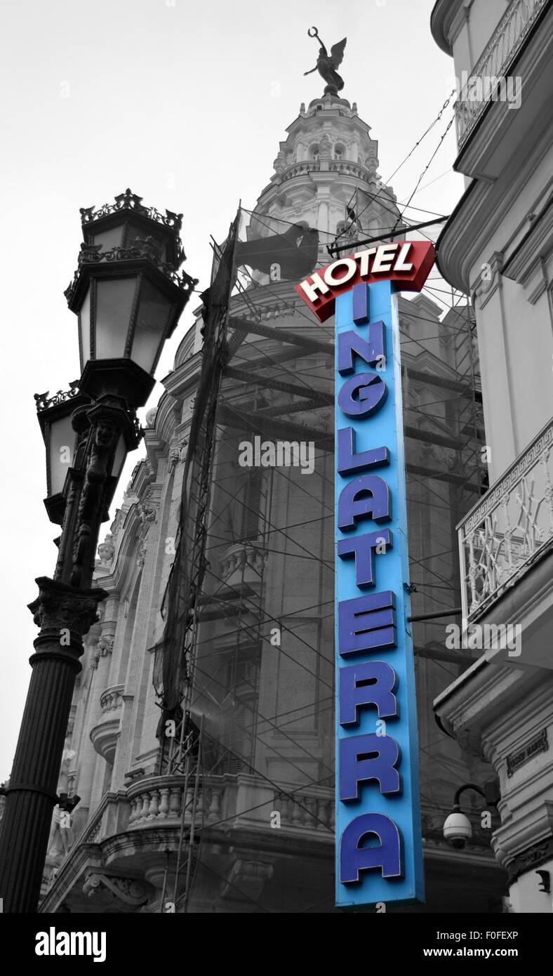 Hotel Inglaterra signage and end tower of Palacio del centro Gallego in Havana, Cuba - Stock Image