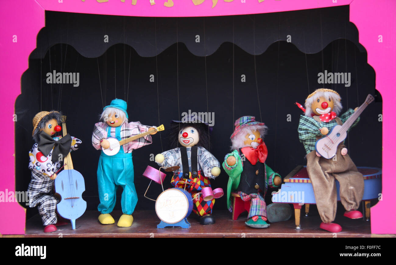 Automaton with puppets on strings at Llandudno Victorian Extravaganza in May 2015. - Stock Image