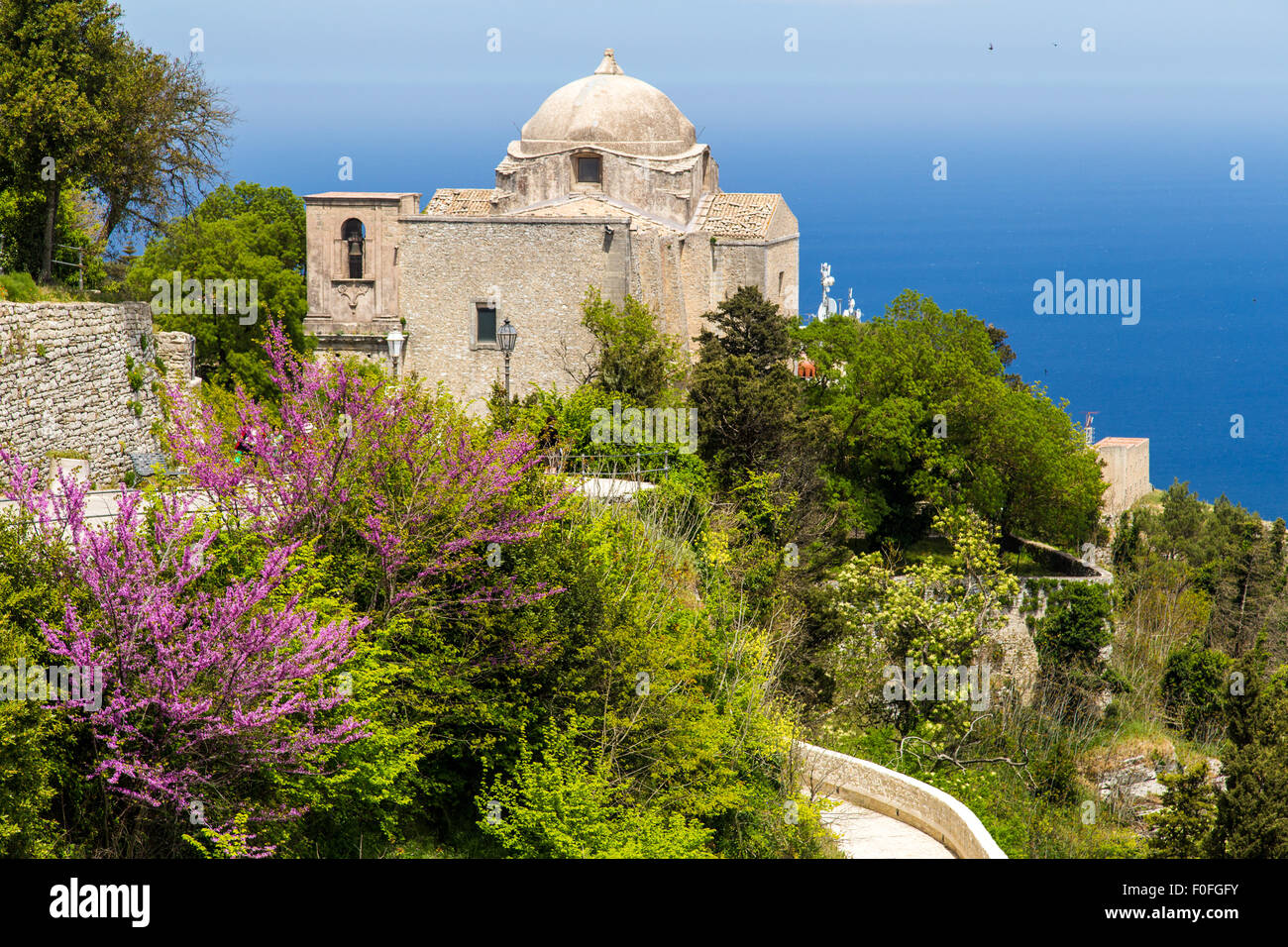 A view on historical Church of Giovanni in Erice, Sicily, Italy - Stock Image