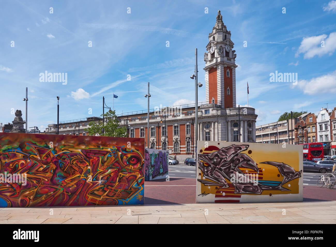 Lambeth Town Hall in Brixton, London England United Kingdom UK - Stock Image