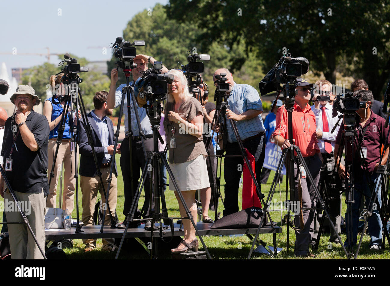TV news cameras setup for outdoor event - Washington, DC USA - Stock Image