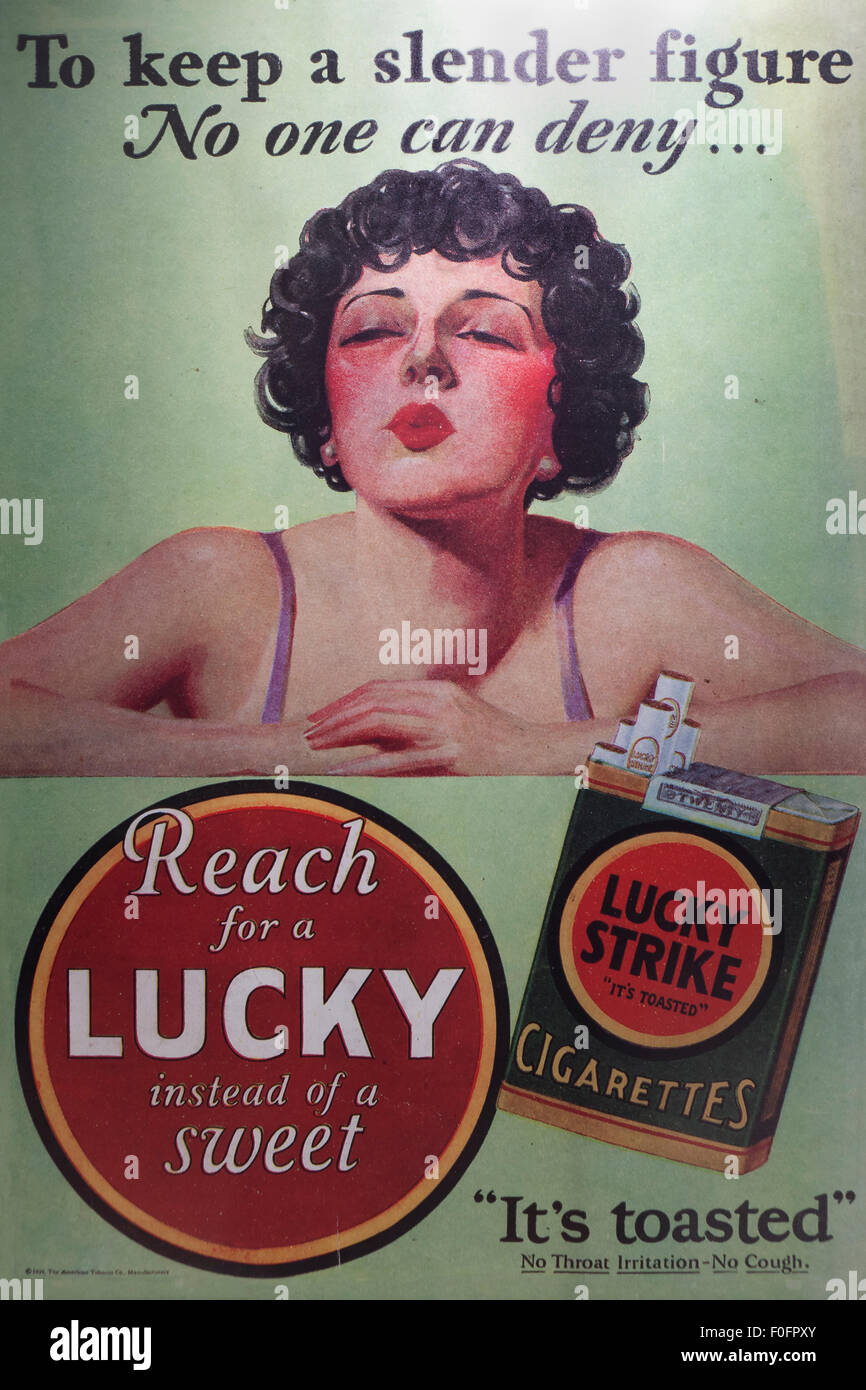 Vintage Lucky Strike cigarette ad poster, circa 1939 Stock Photo