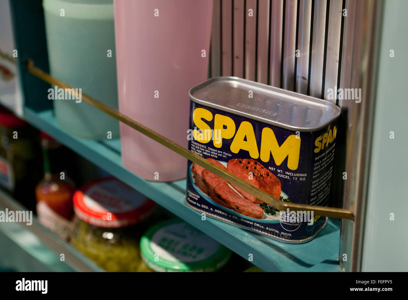 Can of Spam in refrigerator - USA - Stock Image