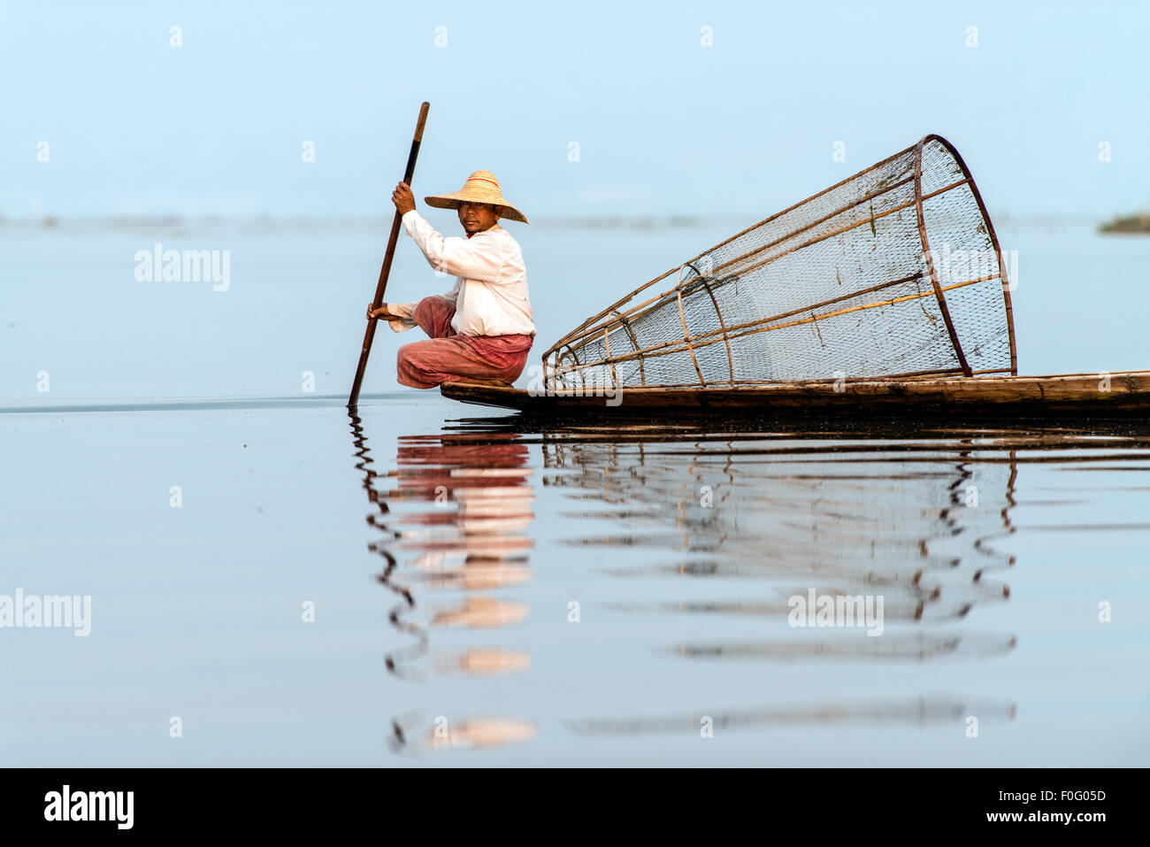 Burmese fisherman fishing Inle Lake Nyaungshwe Myanmar Burma - Stock Image